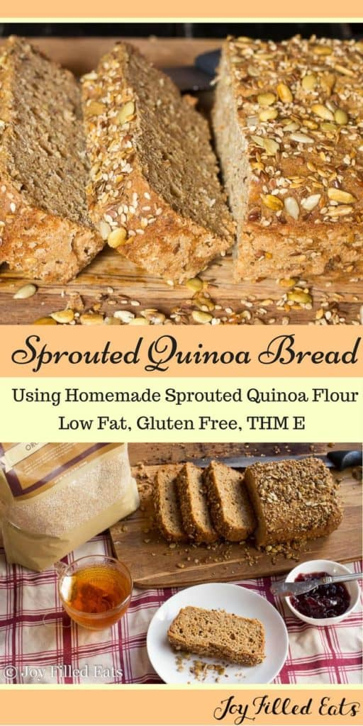 pinterest image for sprouted quinoa bread