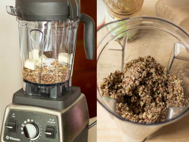 two images of a blender, one with pecan crust ingredients and another with ingredients blended for pecan crust