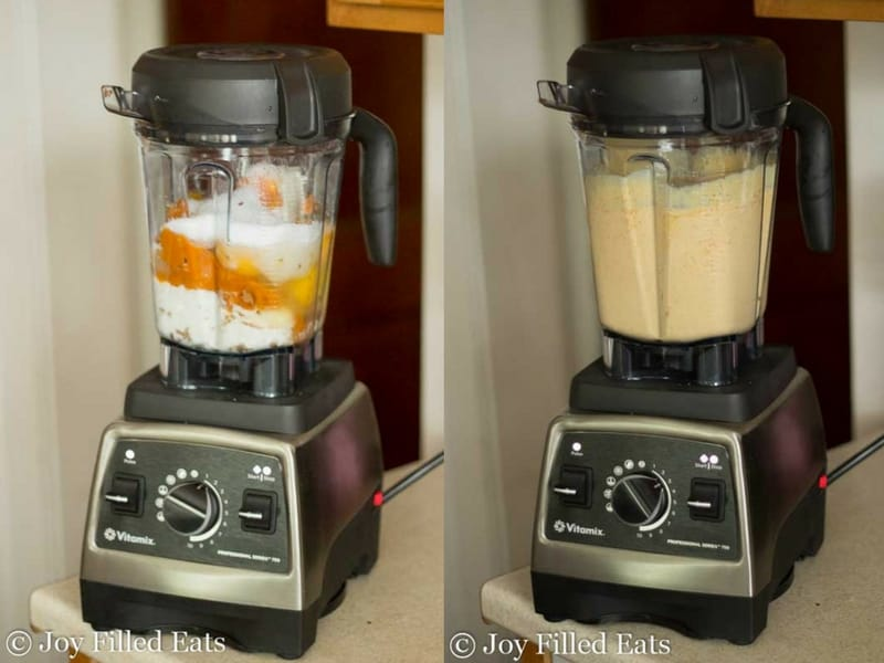 two images of a blender, one with pumpkin cheesecake ingredients and one with blended pumpkin cheesecake ingredients