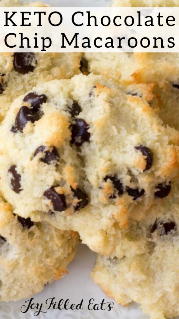 pinterest image for keto chocolate chip macaroons
