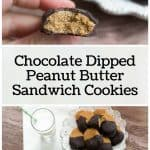 pinterest image for chocolate dipped peanut butter sandwich cookies