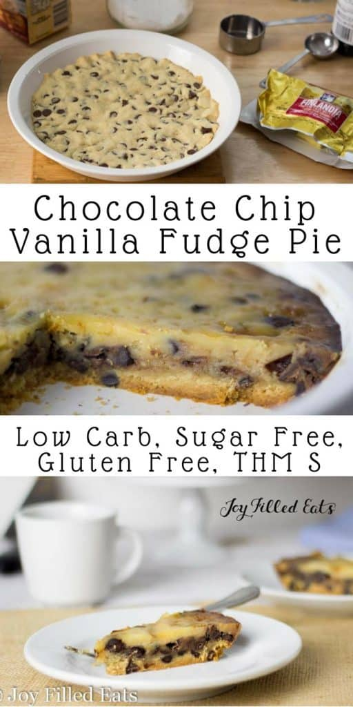 pinterest image for chocolate chip vanilla fudge pie