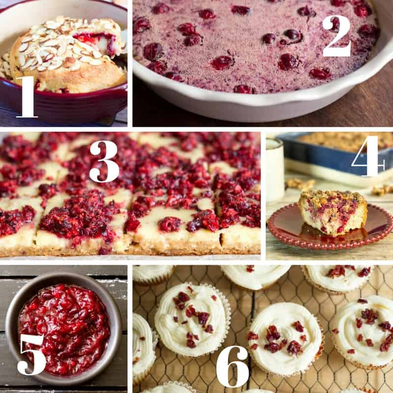collage of images displaying cranberry recipes