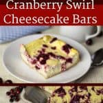 pinterest image for cranberry swirl cheesecake bars