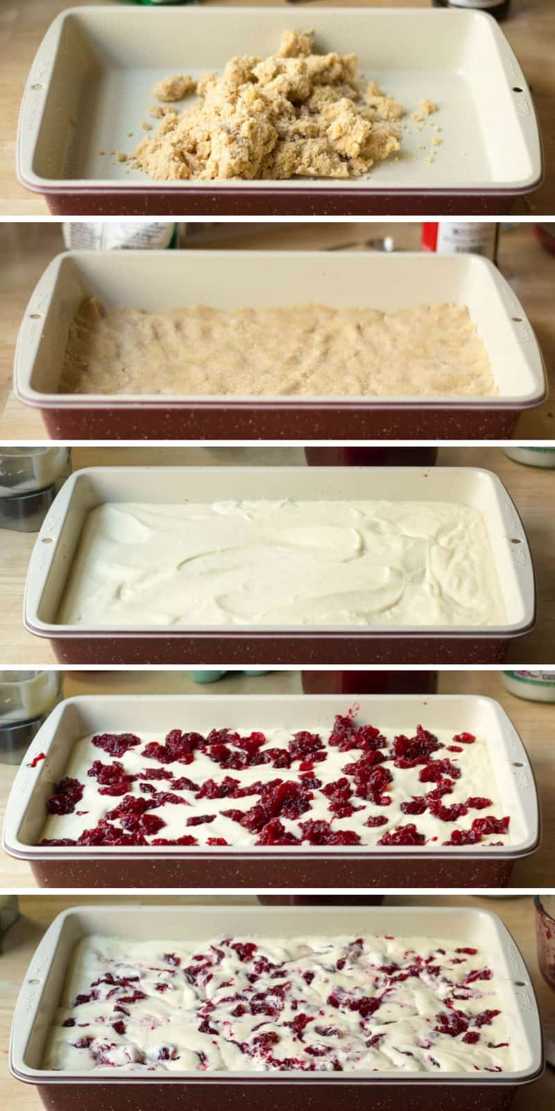 collage of images showing various layers of cranberry swirl cheesecake bars in a casserole dish