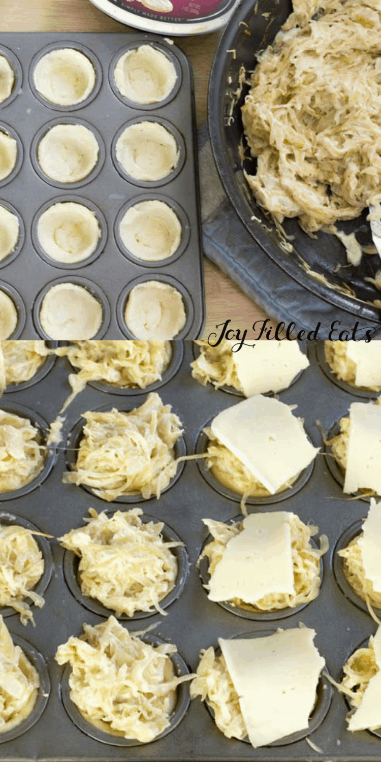 raw dough in a muffin pan filled with caramelized onions and topped with cheese