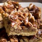 pinterest image for keto pecan praline cookie bars