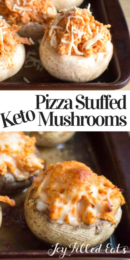 pinterest image for pizza chicken stuffed mushrooms