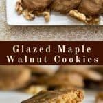 pinterest image for glazed maple walnut cookies