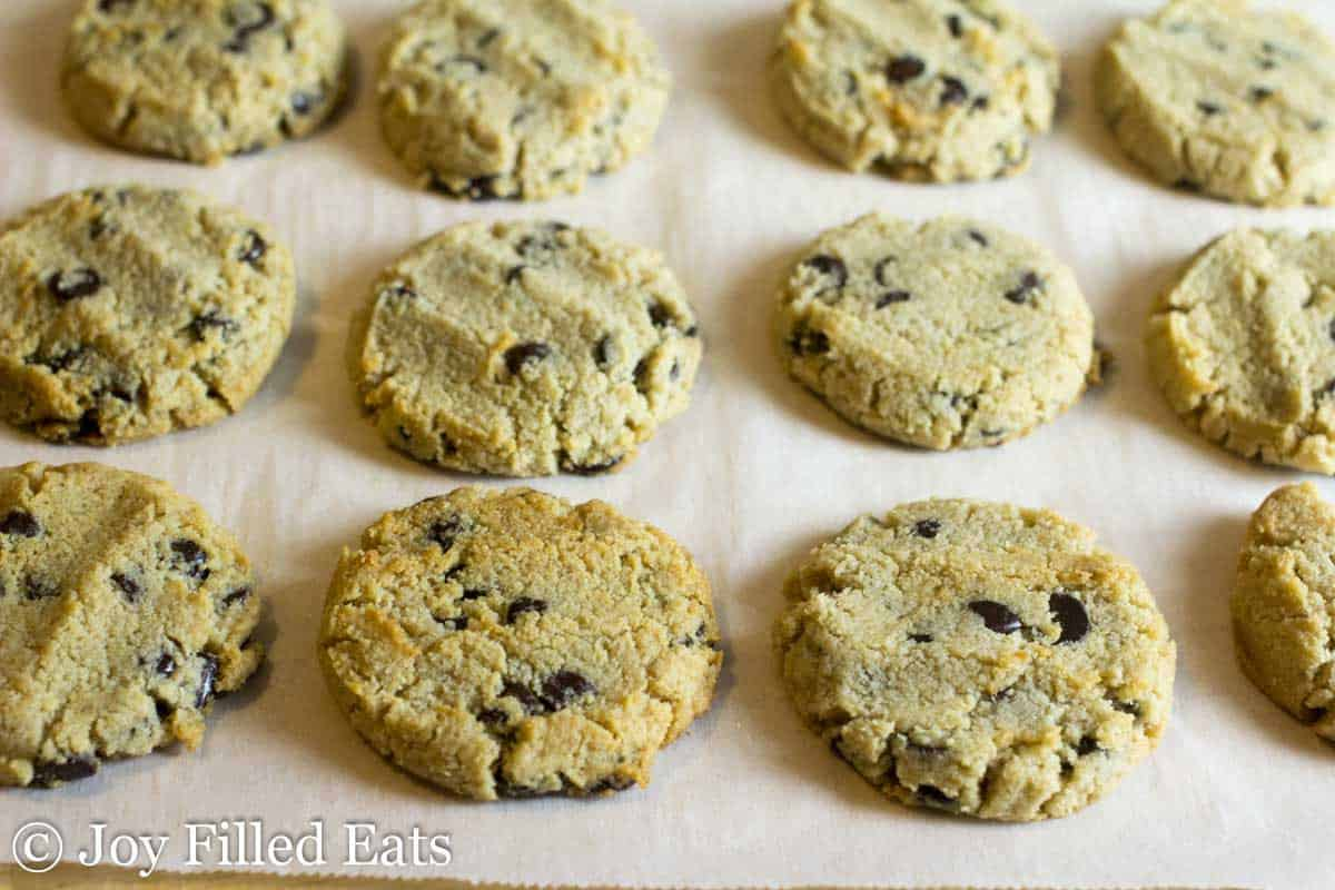 parchment paper lined with chocolate chip shortbread cookies
