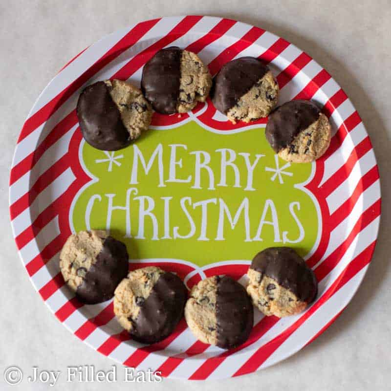 chocolate chip shortbread cookies placed on a 'Merry Christmas' paper plate