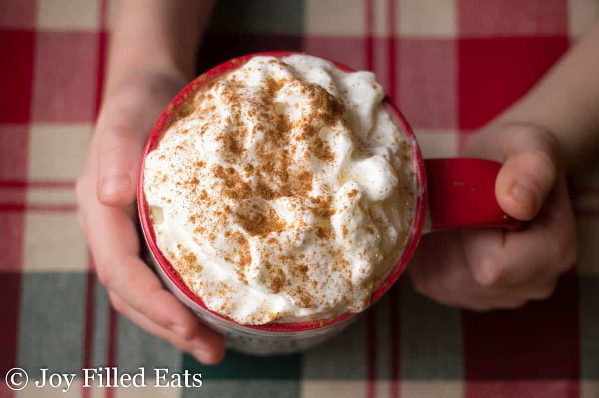 two small hands holding a mug full of cinnamon vanilla latte topped with whipped cream and dusted in cinnamon