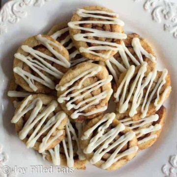 overhead view of a plate full of cinnamon roll cookies