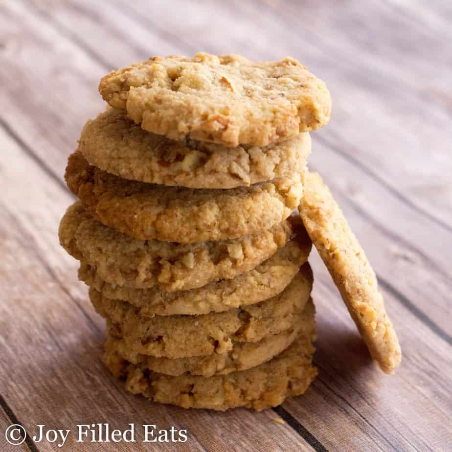A stack of baked Butter Pecan Cookies