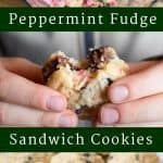 pinterest image for peppermint fudge sandwich cookies