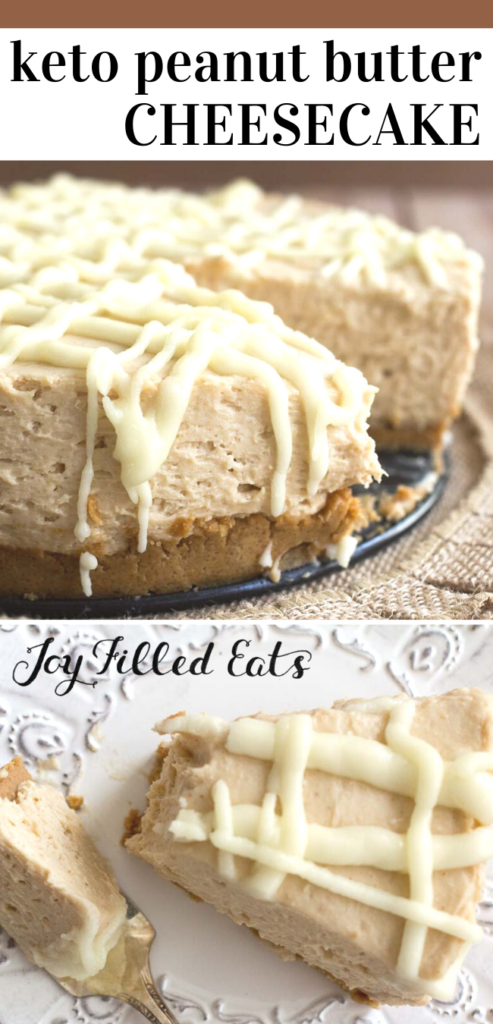 pinterest image for white chocolate peanut butter cheesecake