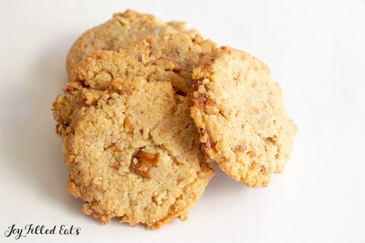 A pile of baked Butter Pecan Cookies