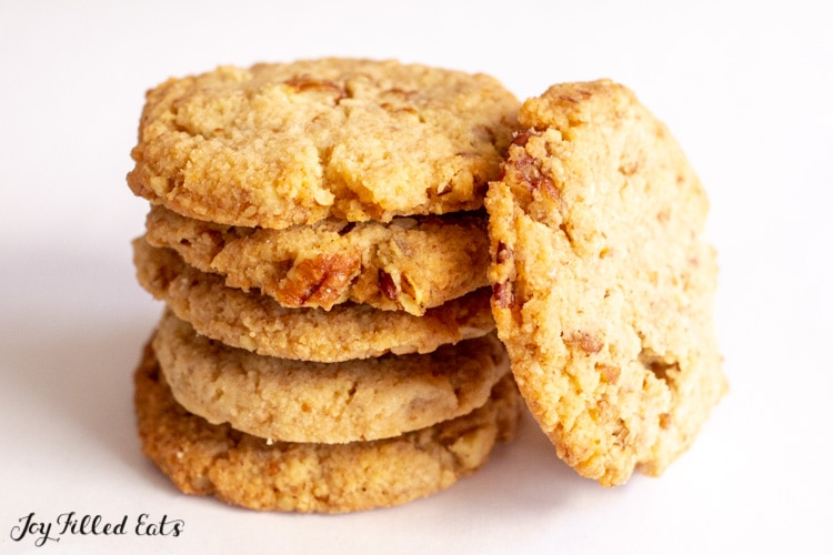 Butter Pecan Cookies stacked up with one on its side