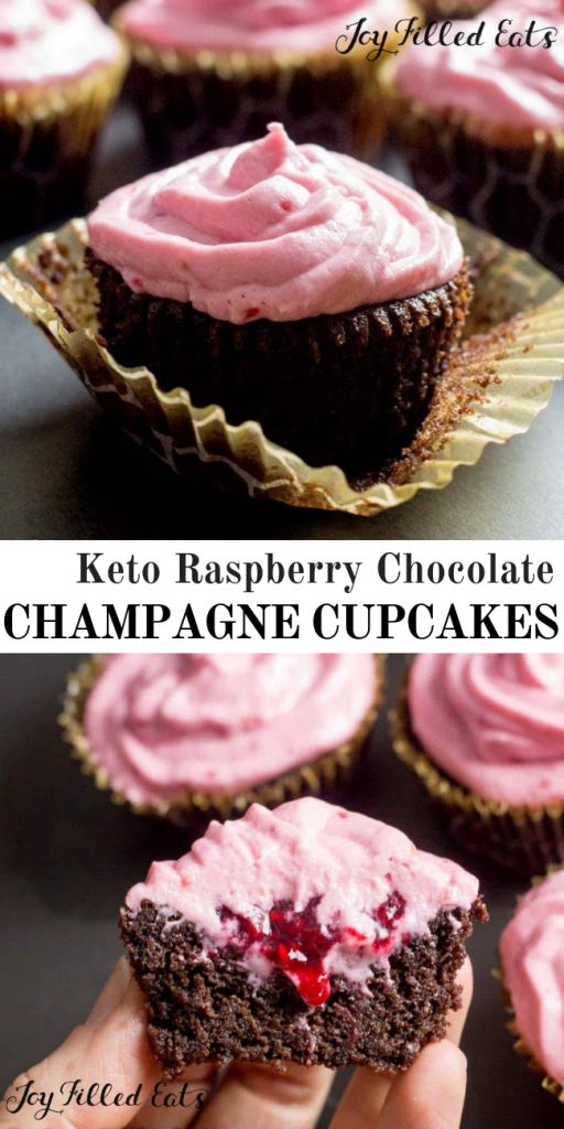 pinterest image for keto raspberry chocolate champagne cupcakes