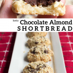 pinterest image for keto chocolate almond shortbread