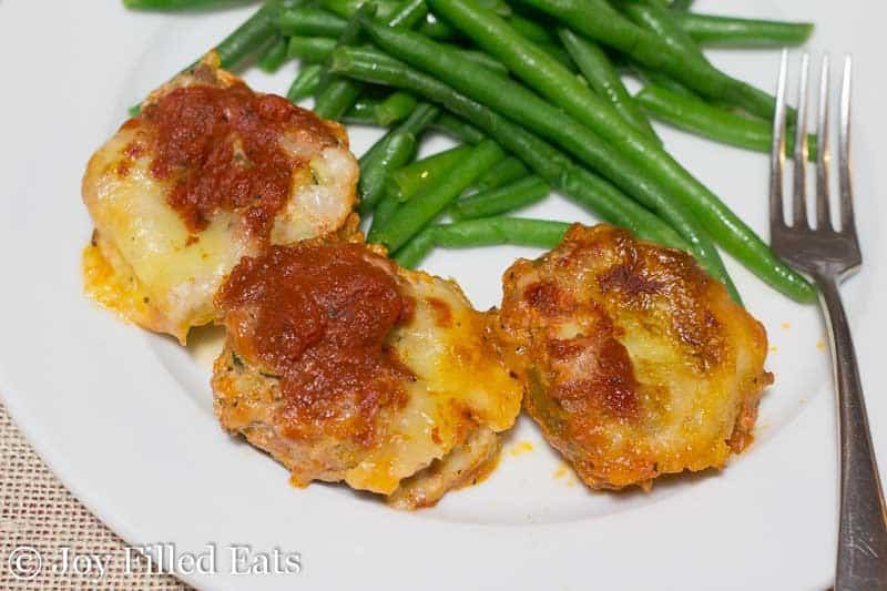 Mini Mozzarella Stuffed Italian Meatloaves - Low Carb, Grain Free, THM S