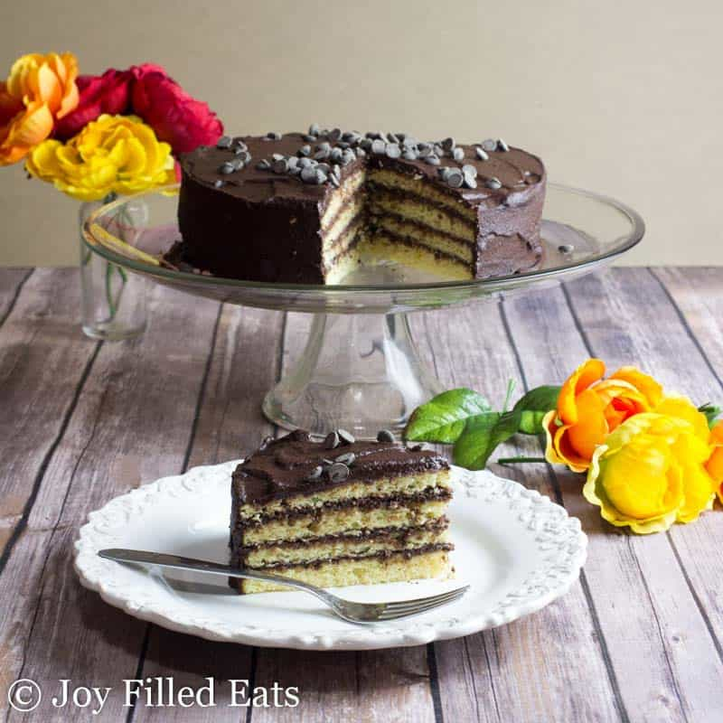 Classic Yellow Keto Birthday Cake with Chocolate Icing on a white plate