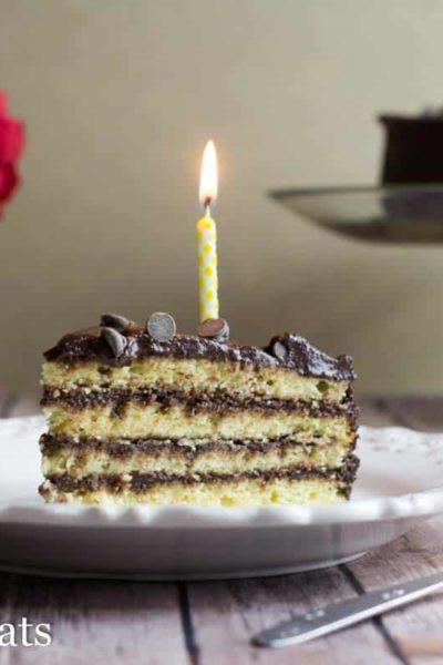 Classic Yellow Keto Birthday Cake with Chocolate Icing
