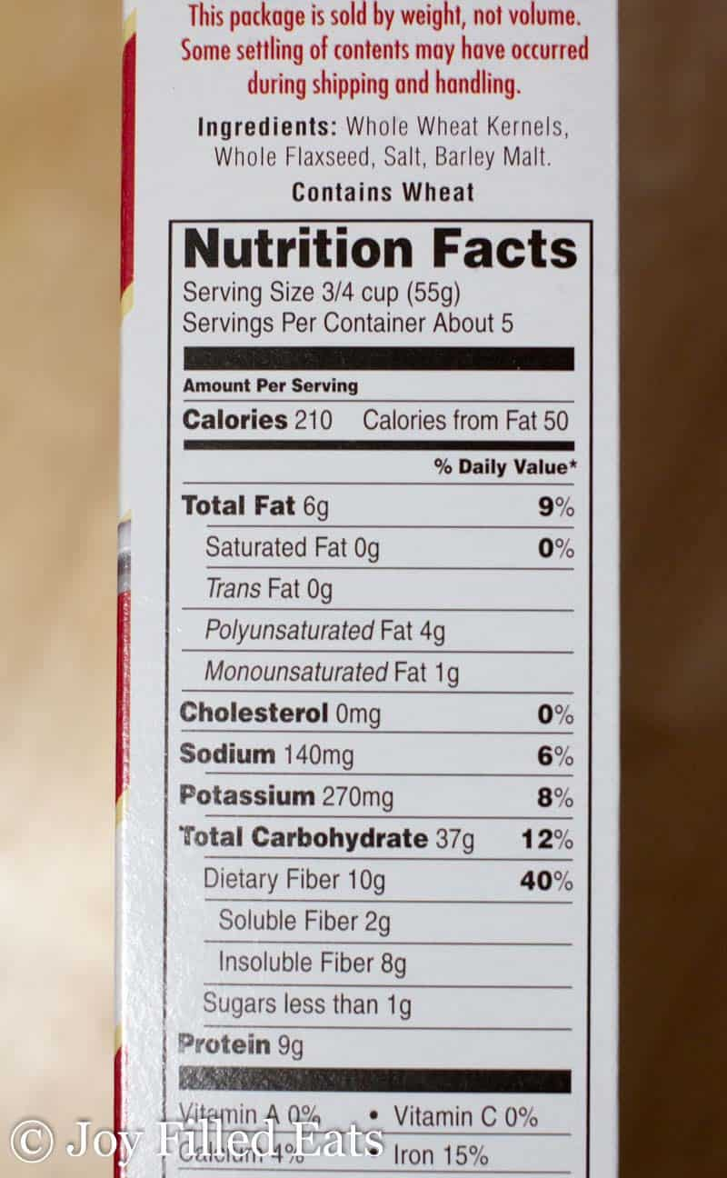 nutritional facts for Uncle Same cereal