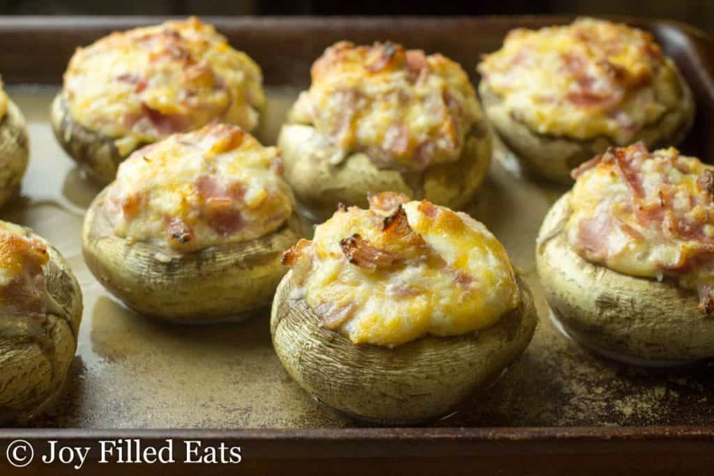 Ham & Cheese Stuffed Mushrooms - Low Carb, Grain Free, THM S