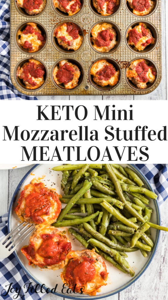 pinterest image for mini mozzarella stuffed meatloaves