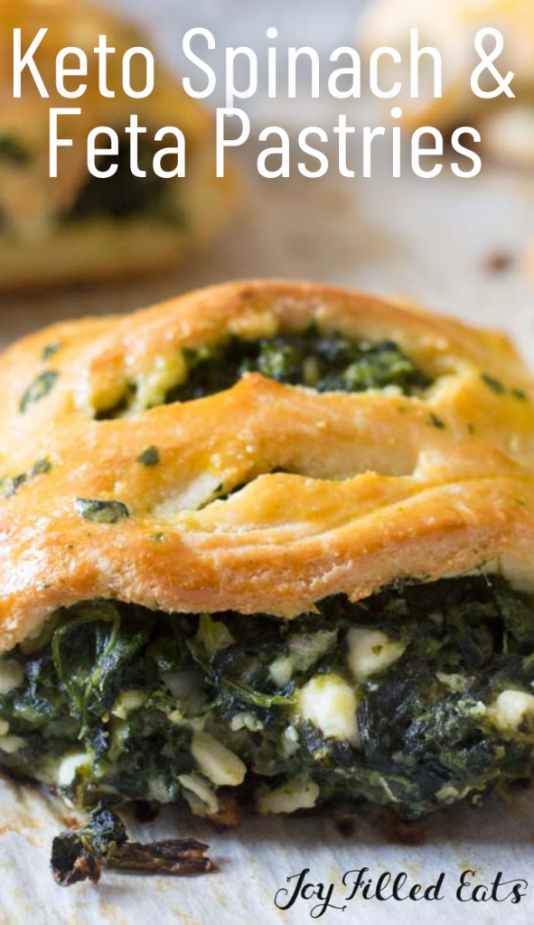 pinterest image for keto spinach & feta pastries