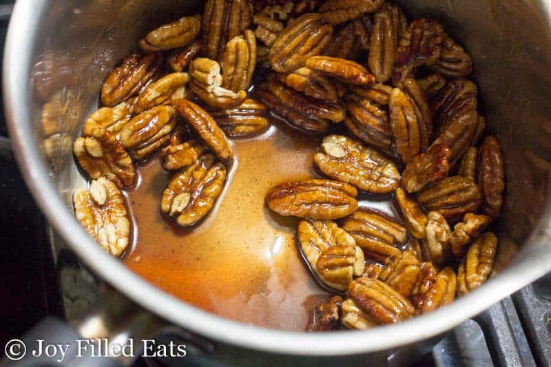 a pot of the Stovetop of pecans in glaze