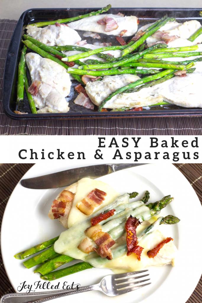 pinterest image for baked chicken & Asparagus