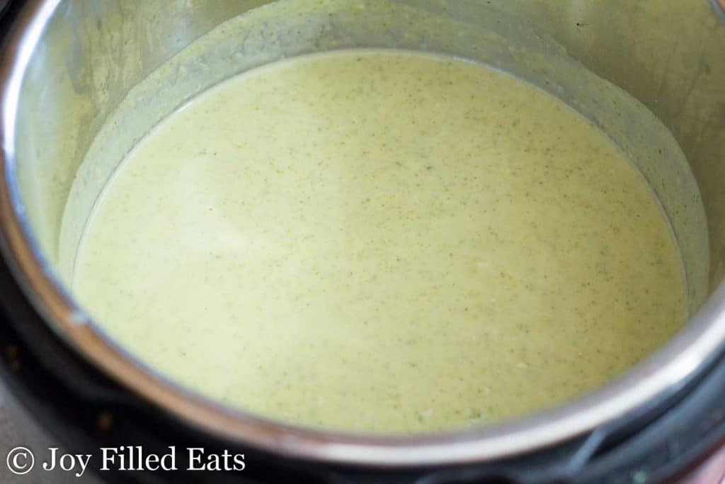 a pot of Low Carb Broccoli Cheese Soup