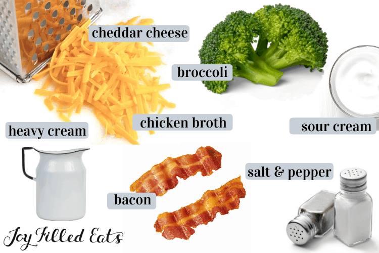 Keto Broccoli Cheddar soup ingredients including cheddar cheese, broccoli, sour cream, chicken brother, heavy cream, bacon, salt and pepper