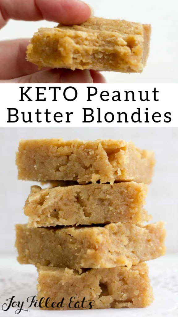 pinterest image for keto peanut butter blondies