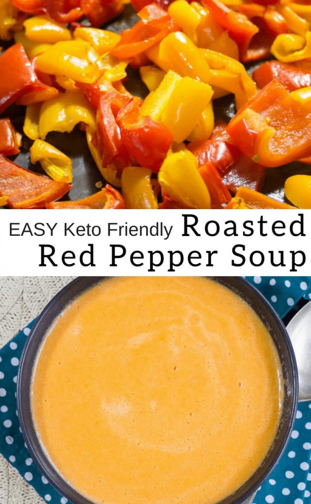 pinterest image for keto roasted red pepper soup