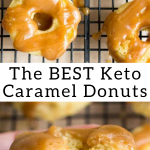 pinterest image for mini brown butter caramel donuts