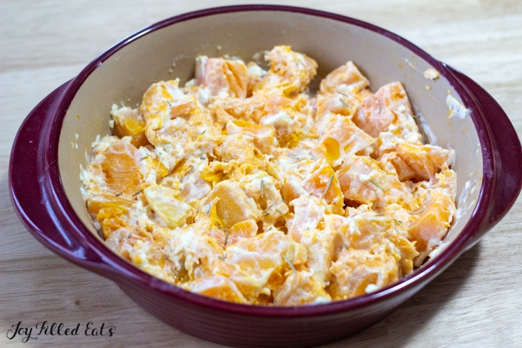 baking dish of butternut squash with cream cheese