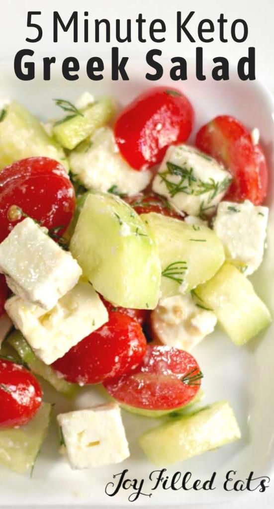 pinterest image for 5 minute keto greek salad