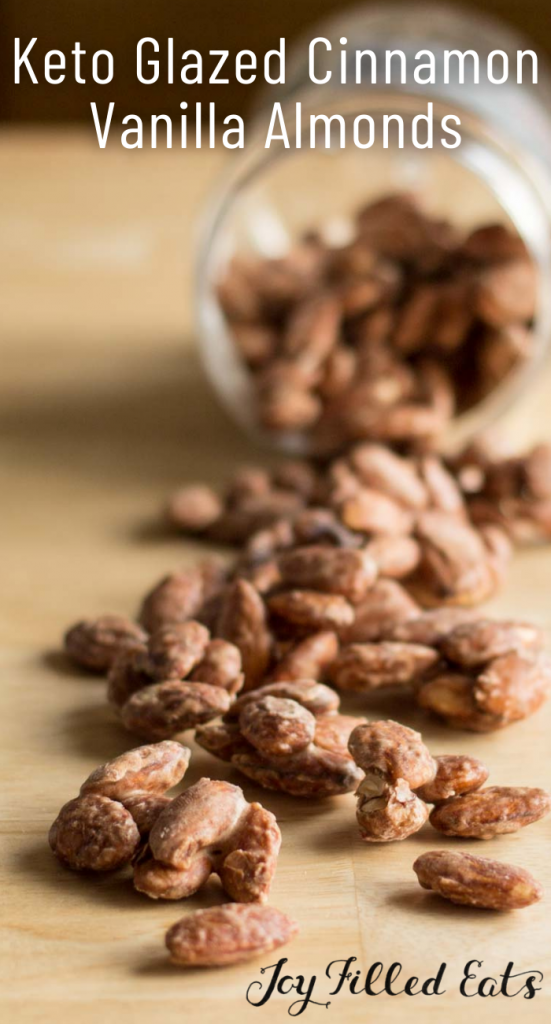 pinterest image for glazed almonds