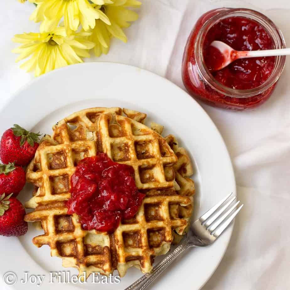 Waffle topped with Fresh Strawberry Jam Sugar-Free