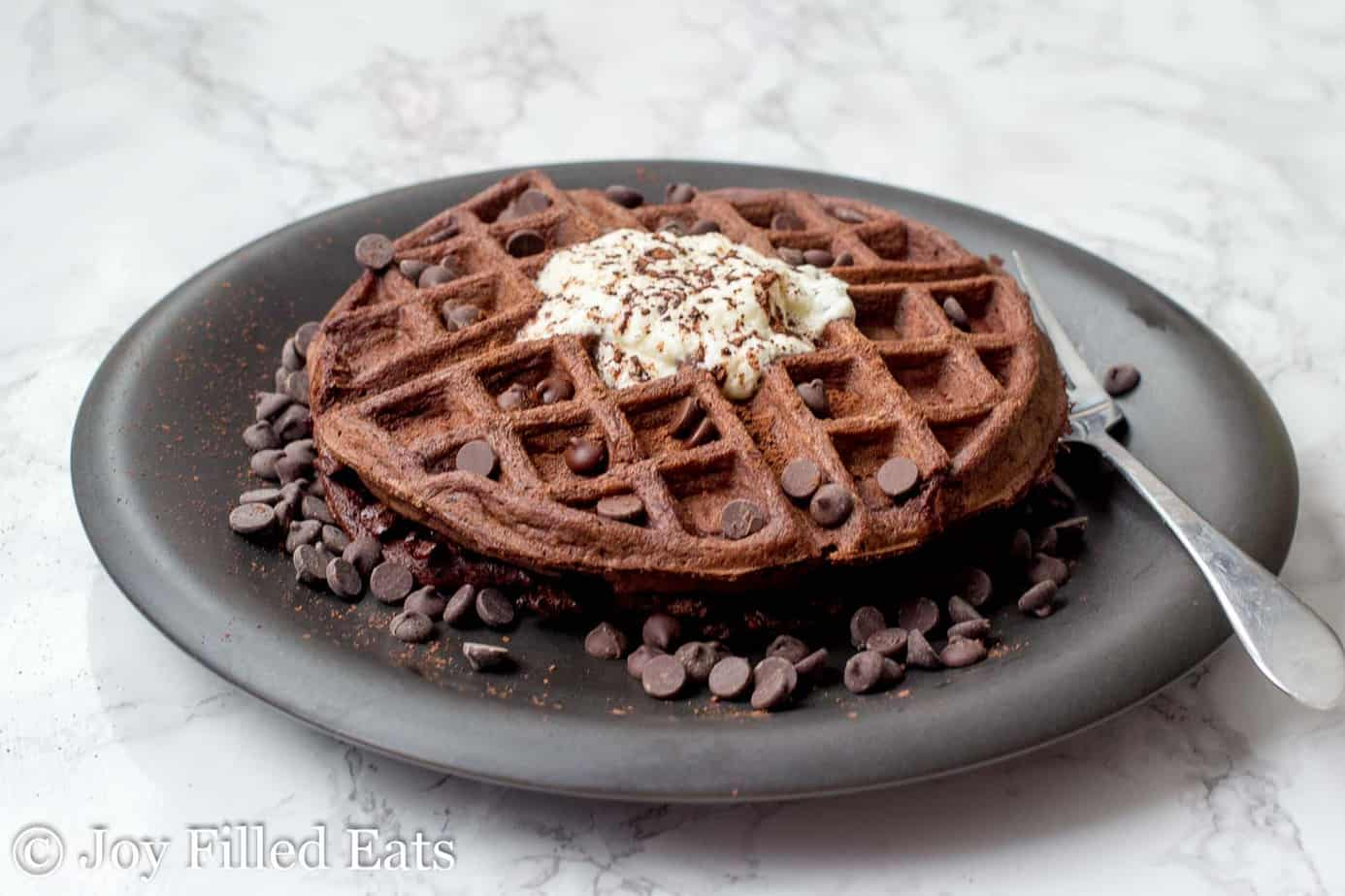 chocolate chocolate chip waffle surrounded by chocolate chips and topped with whipped cream on a black plate