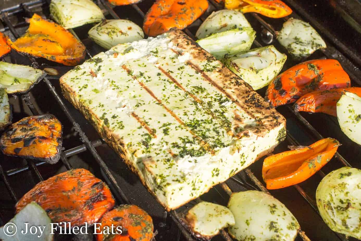 Grilling paneer cheese and veggies