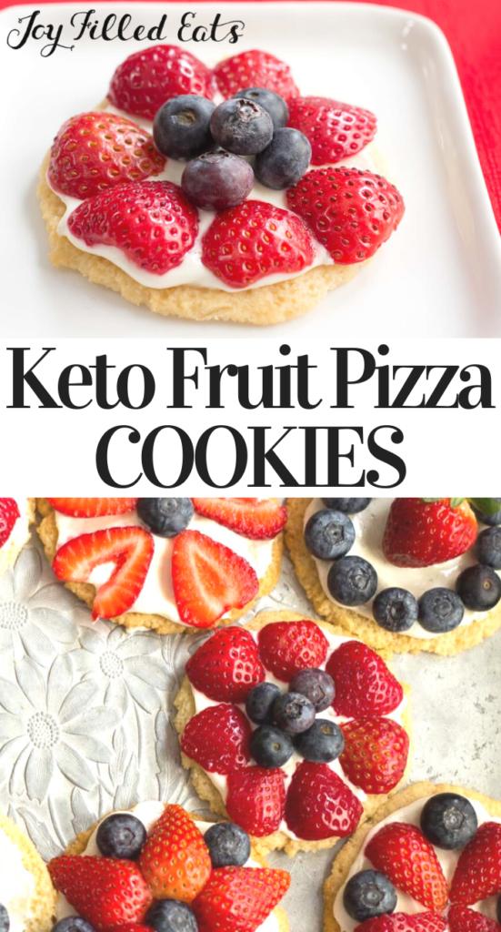 pinterest image for keto fruit pizza cookies