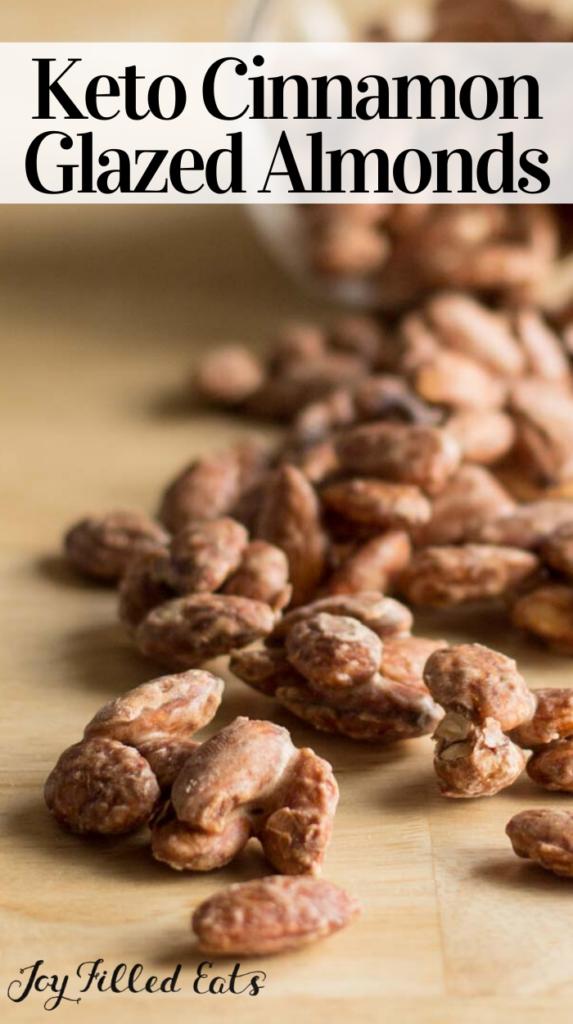 pinterest image for cinnamon vanilla glazed almonds