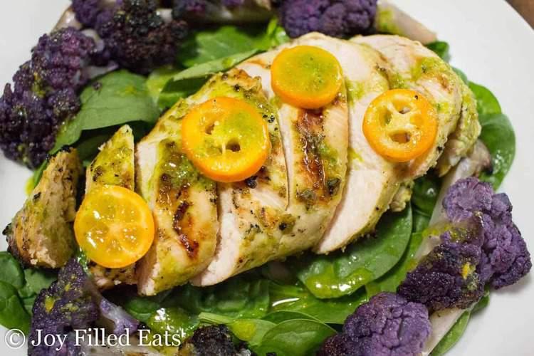 close up on citrus basil grilled chicken salad
