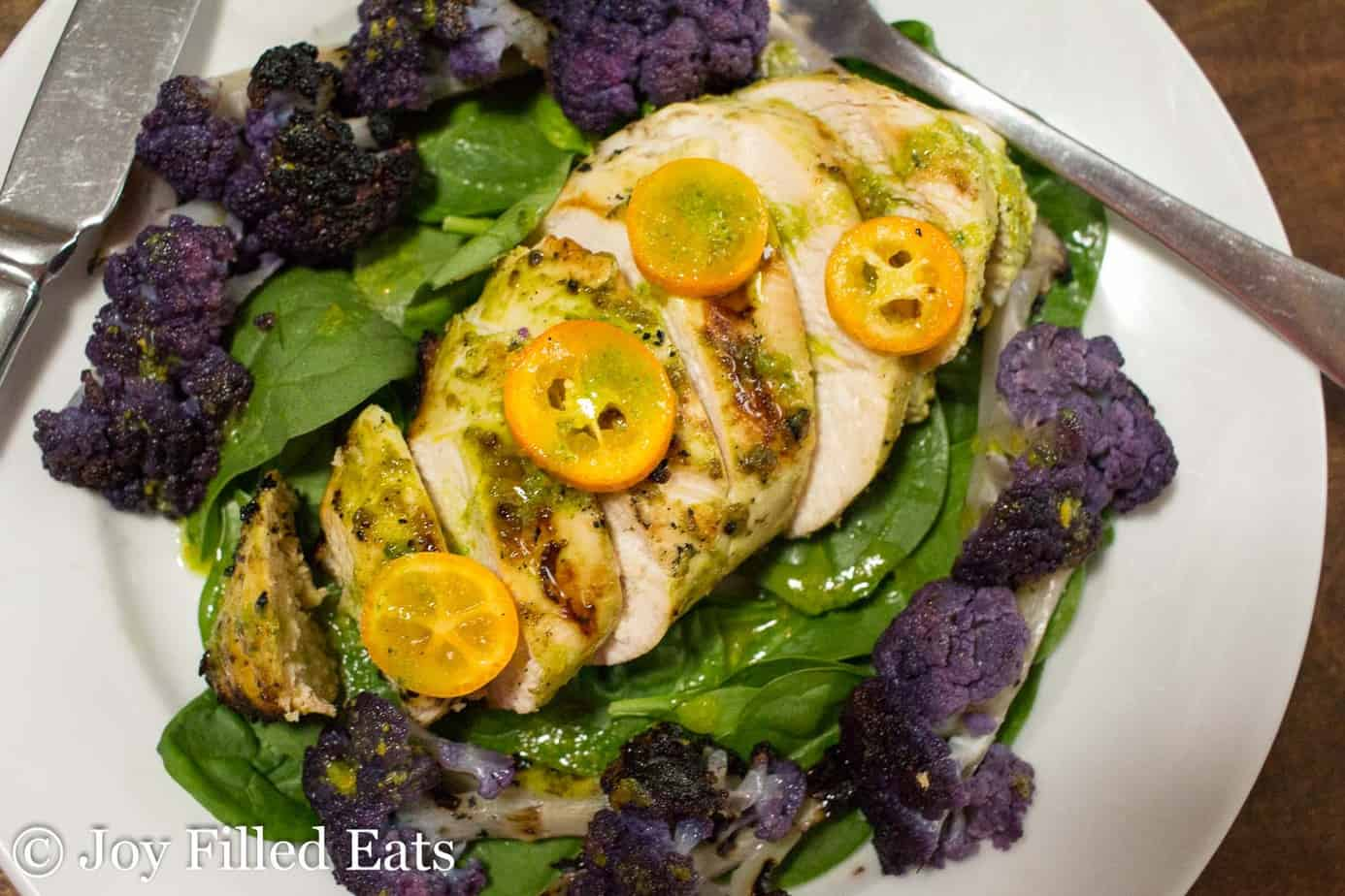 citrus basil grilled chicken salad on a plate from above