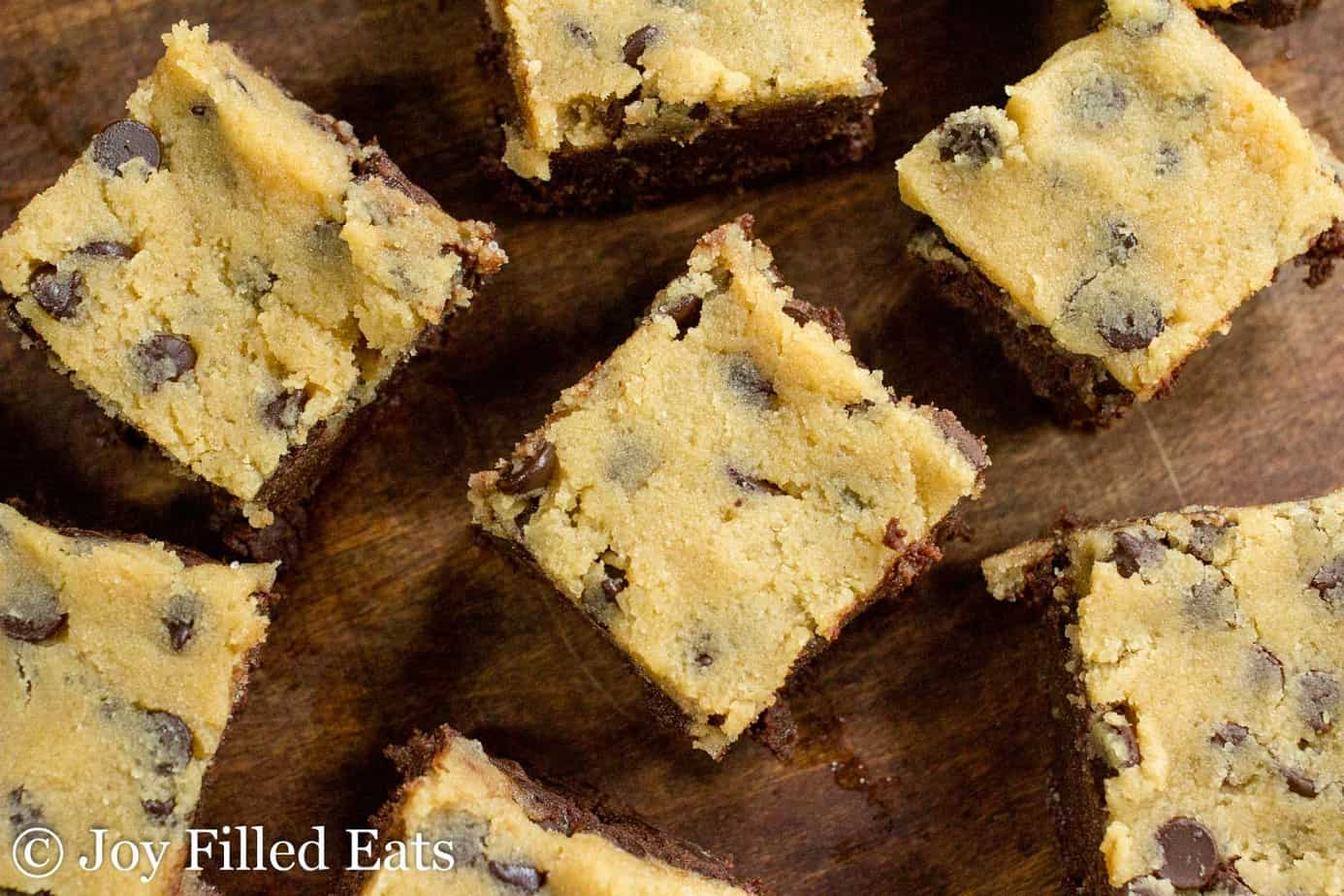 overhead view of chocolate chip cookie dough brownies arranged on a table