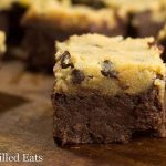 close up on chocolate chip cookie dough brownie square